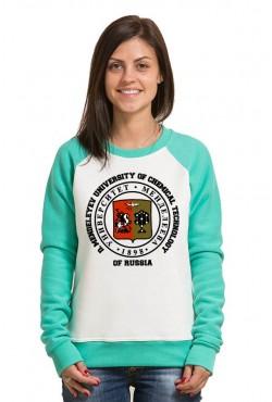 Свитшот двуцветный женский РХТУ Российский химико-технологический университет имени Д. И. Менделеева