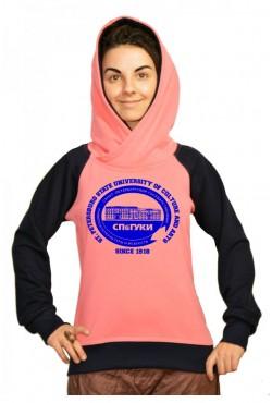 Толстовка двуцветная мужская с капюшоном СПБГУКИ Государственный университет культуры и искусств