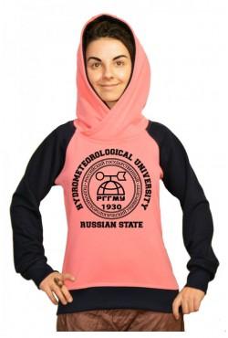 Толстовка двуцветная мужская с капюшоном РГГМУ Российский государственный гидрометеорологический университет