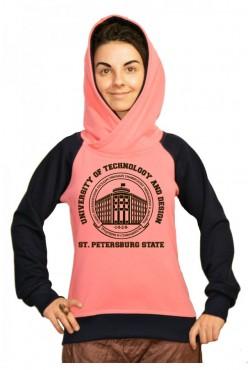 Толстовка двуцветная мужская с капюшоном СПБГУТИД Государственный университет технологии и дизайна
