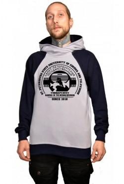 Толстовка двуцветная мужская с капюшоном СПБГУКИТ Государственный университет кино и телевидения