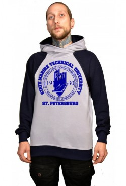 Толстовка двуцветная мужская с капюшоном СПГМТУ Санкт-Петербургский государственный морской технический университет