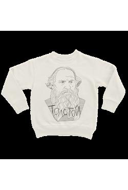 Оверсаз-худи, свитшот, футболка или сумка шоппер с портретом Льва Толстого (Минимализм)