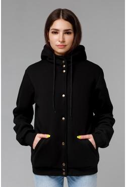 Колледж куртка женская полностью черная с капюшоном