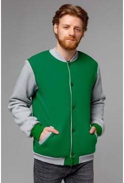 Бомбер-толстовка мужской зеленый с серым
