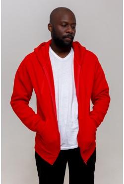 Красная толстовка на молнии мужская с капюшоном