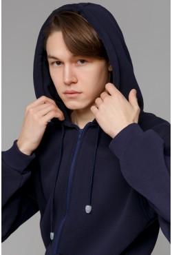 Мужская толстовка на молнии темно синего цвета
