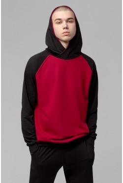 Мужской спортивный костюм: бордовое худи реглан с черным рукавом + черные брюки