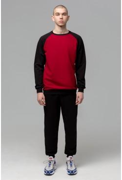 Мужской спортивный костюм на лето: бордовый свитшот реглан с черным рукавом и черные брюки