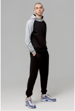 Мужской спортивный костюм: черная толстовка реглан + черные брюки