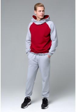 Мужской спортивный костюм: бордовая толстовка реглан + серые брюки