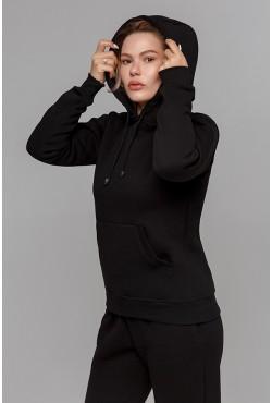 Зимний женский спортивный костюм: черная толстовка с капюшоном  + черные брюки 320гр