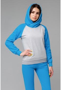 Женский спортивный костюм: бирюзовая толстовка реглан + бирюзовые брюки