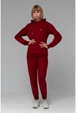 Женский Бордовый спортивный костюм на лето: бордовое худи и Бордовые джоггеры