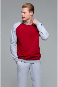 Мужской бордовый спортивный костюм: бордовый свитшот реглан + серые брюки