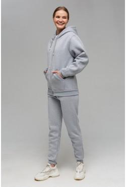 Зимний женский спортивный костюм: серая толстовка на молнии с капюшоном  + серые брюки 320гр