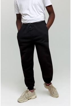 Черные мужские спортивные брюки с начесом утепленные зимнее 320гр/м.кв