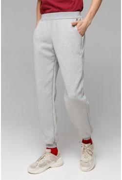 Серые мужские спортивные брюки с начесом утепленные зимнее 320гр/м.кв