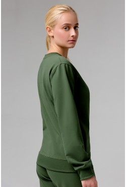 Женский темно-зеленый(хаки) спортивный костюм: Тёмно-зеленый(хаки) свитшот и Тёмно-зеленые(хаки) брюки