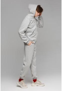 Мужской зимний спортивный костюм серый меланж 320гр/м2 с начесом (толстовка на молнии)