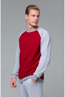 Мужской свитшот-реглан серо-бордовый 220гр/м2
