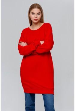 Женский удлиненный красный свитшот