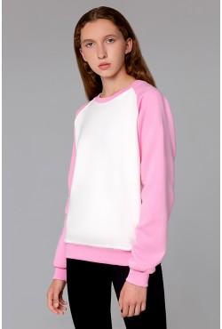 Женский свитшот-реглан розово-молочный 320гр/м2 с начёсом