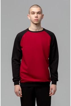 Мужской свитшот-реглан черно-бордовый 220гр/м2
