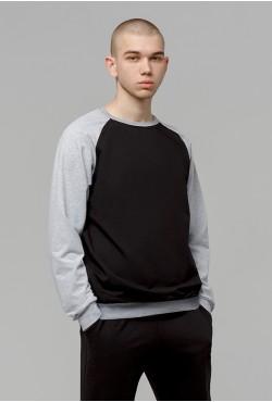 Мужской свитшот-реглан серо-черный 220гр/м2