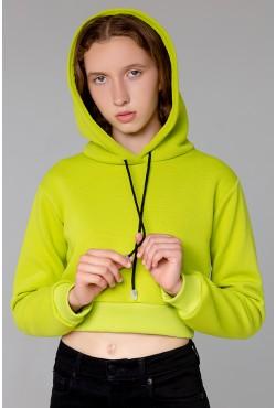 """Женская укороченная толстовка Crop-Top-Hoodie """"Lime"""" 320гр/м.кв с начесом"""