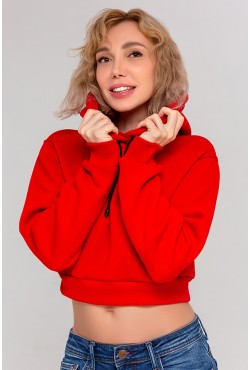 """Женская красная укороченная толстовка Crop-Top-Hoodie """"Red"""" 320гр/м.кв с начесом"""