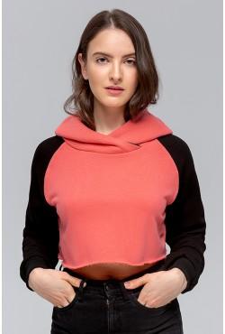 """Женская укороченная толстовка Crop-Top-Hoodie """"Coral-Black"""" 300гр/м.кв без начеса"""