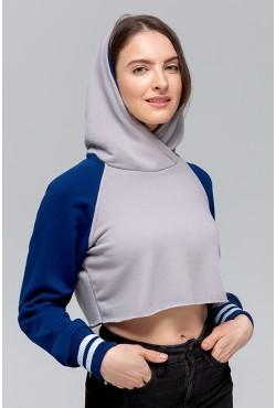 """Женская укороченная толстовка Crop-Top-Hoodie """"Navi-Gray"""" 300гр/м.кв без начеса"""