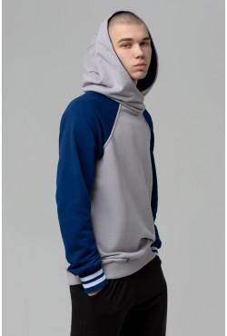 Толстовка реглан мужская серо-синяя с капюшоном мужская