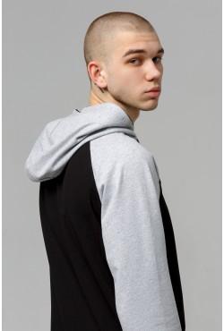 Мужская черная толстовка реглан с капюшоном (тонкая) 220гр/м.кв